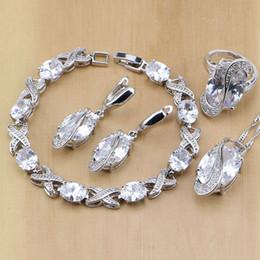 weiße jade ohrringe 925 silber Rabatt ganze saleTrendy 925 Sterling Silber Schmuck Weiß CZ Schmuck Sets Für Frauen Hochzeit Ohrringe Anhänger Halskette Ringe Armband