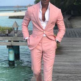 Slim fit costumes rose en Ligne-Dernière Conception Rose Hommes Costumes Pour Mariage Cran Revers Beau Tuxedos Marié Slin Fit Blazers Mariée 2 Pièce s (Veste + Pantalon + Cravate) 1143