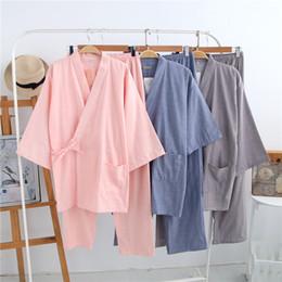 0dde4ff036 2018 Men Japanese Traditional Kimono Men s Sleepwear Lounge Home Clothing  Suits Men summer style Cotton Yukata 041602