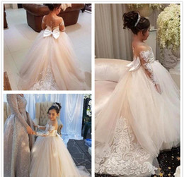 Wholesale Long Sleeve Dresses Toddlers - 2018 Princess Cheap Lovely Cute Tulle Applique Flower Girl Dresses Daughter Toddler Long Sleeves Pretty Kids First Holy Communion Dress