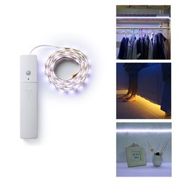 Wholesale Led Battery Operated Night Lights - LED Strip Night Lamp IR Infrared Motion Detector Sensor 60 LED Night Light Closet Cabinet Light Lamp PIR Wireless Operated Light