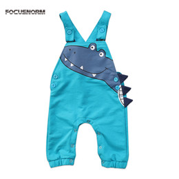 Wholesale Loose Suspenders Girl - Toddler Infant Baby Boys Girls Dinosaur Cartoon Suspenders Romper Overalls Cotton Jumpsuit Outfits Clothes