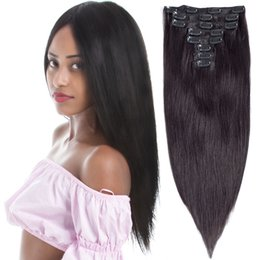 2019 synthetisches peruanisches weben 14-24 Zoll gerade 100% natürliche Remy Clip in Haarverlängerungen 8 Stücke 100g volle Kopf lange Haarverlängerung menschliches reines Haar für Frauen