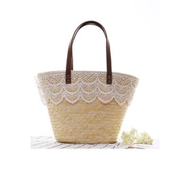 Wholesale Large Woven Straw Bag - Fashion Bags 2018 Summer Crochet Straw Beach Hand Bags for Women Large Capacity Knitted Handbags Female Lace Woven Top-handle Tote Bags