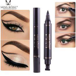 Wholesale Sexy Pen - Brand MISS ROSE 1 Pcs Charming Cat Eye Winged Eyeliner Sexy Eye Cosmetic Seal Stamp Wing Double Head Waterproof Eyeliner Pen Tool
