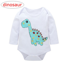 6ba206ca0 INS Dinosaur Print kids white color Long sleeved rompers baby animal cartoon  print romper Jumpsuits for 0-2years free