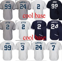 Wholesale Mantle Man - 99 Aaron Judge Jersey 2 Derek Jeter 24 Gary Sanchez 7 Mickey Mantle 42 Mariano Rivera 3 Babe Ruth cool base baseball jerseys Stitched S-4XL