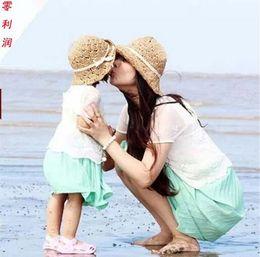 Modelos de chapéu de praia on-line-2018 chapéu de palha das crianças monocromática mãe e filha modelos pai-filho verão sol sombra chapéu de praia senhoras chapéu pescador simples