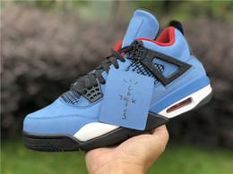 en tête d Promotion Top qualité Travis Scotts X 4 Houston Oiler Hommes chaussures de basket-ball 4s chaussures de sport Sneakers Bleu Suede PJ Tucker formateurs Avec Box 8-13