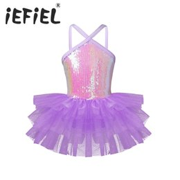 tutus for teenagers Coupons - Tiaobug Kids Child Teenager Sleeveless Halter Sequins Gymnastics Leotard Dance Tutu Dress for Girls Ballerina Class Dancewear