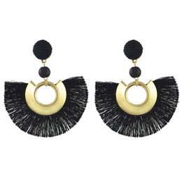 gold fringes Promo Codes - idealway 5Colors Bohemian Fringe Earrings Graceful Beauty Gold Metal Resin Bead Fabric Thread Tassel Pendant Drop Earrings Gift