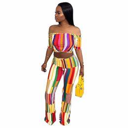 Wholesale wide legs pants suit - S-XXL 2018 Striped Print Women's Sets Summer fashion Crop Top+wide-legged pant two pieces suits pullover Casual tracksuit