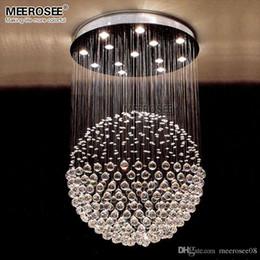 Luz de techo de cristal de lujo Lámpara de cristal redonda para el vestíbulo Comedor K9 Bola de cristal Forma de iluminación de la gota Decoración del hogar desde fabricantes
