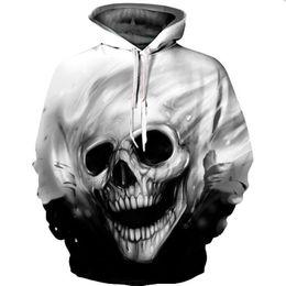 3d derreter on-line-3D Impressão Casual Pullovers Streetwear Tops 3D Hoodies Homens / Mulheres Moletons Com Capuz Crânio Derretido