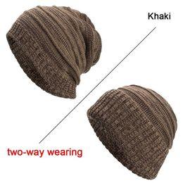 309df6f2577 Joymay Brand Winter Beanies Hat for Men 2018 Two way Wearing Unisex  Geometric Pattern Plain Warm Soft Skull Knitting Cap WM085 free knitted hat  patterns for ...