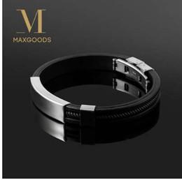 muster charme armbänder Rabatt New Fashion Armband schwarz Punk Rubber Silikon Edelstahl Männer Armbänder Armreifen pulseras hombre caucho