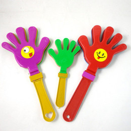 Wholesale hand clappers - 20pcs lot 19CM Funny Plastic Clap Yours Hands Clapper Noise Maker Party KTV Pub Cheering Hands Birthday Wedding Party Supplies