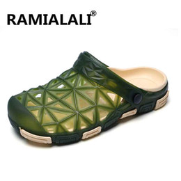 Wholesale Wholesale Flip Flops Buckle - Ramialali Summer Sandals Men Casual Shoes Mules Clogs Beach Slippers Male Water Hollow Jelly Flip Flops Chaussure Homme