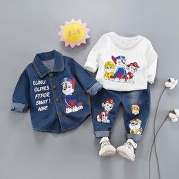 Wholesale boys jeans jackets - Boys Clothing Sets 2018 Autumn Fashion boys Outfits baby boy clothes Infant suit Toddler Clothes 3pcs Denim Jacket +T shirt + jeans A1883