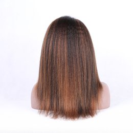 Wholesale highlights front lace - Kinky straight human remy hair lace wigs with highlights 1B hls 30 golden color Brazilian remy hair lace front wigs