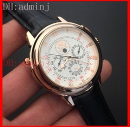 Wholesale Moon Watch Luxury - Men's watch, luxury gold case white surface luxury steel watch, sun and moon stars series automatic mechanical style, double-sided watch!