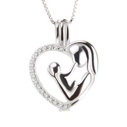 Wholesale hold free - Mother's Day 3pcs 925 Sterling Silver Mother Hold the Baby Shiny Heart Cage Pendants, 19.6*14.6*9mm, Free Shipping