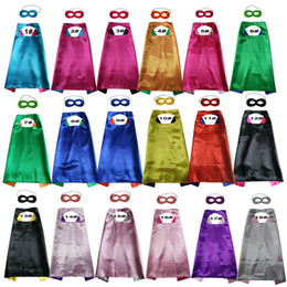 Wholesale carnival costumes wholesale - Hot 2018 Double side L70*70cm kids satin Capes and felt masks Superhero custome capes with mask set