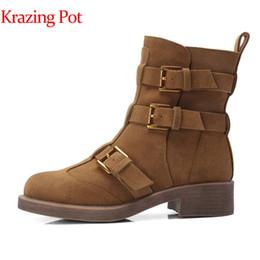 Krazing Pot en cuir véritable style européen talons carrés carrière moto bottes chaudes bout rond boucle sangles bottes mi-mollet bottes L28 ? partir de fabricateur