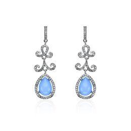 Wholesale Circle R - Fashionable temperament feminine simple full diamond earrings fringe long exaggeration large circle jewelry alloy sapphire leaves creative r