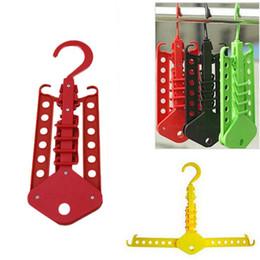 Wholesale Hole Hangers - Foldable Multi Holes Clothes Hanger Closet Spave Saver Hanging Hooks Necktie Rack Folding Clothing Hangers Holders drop shipping