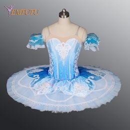 trajes de bailarina adultos Desconto Adulto Coppelia Clássico Profissional Ballet Tutu Azul Branco Bailarina Panqueca Tutu para As Mulheres Ballet Stage Costume
