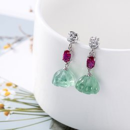 Piedras verdes chinas online-Hutang Gemstone Fluorite Pendientes 925 Plata Esterlina Sólida Verde Fina Moda Joyería de Piedra Para Regalo Estilo Chino