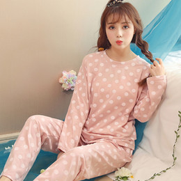 a9ce488e86 100% Cotton Polka Dot Pajamas Sets for Women 2018 Autumn Winter Long Sleeve  Pyjama Homewear Lounge Pijama Casual Indoor Clothing