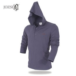 Canada JOZSI V-Neck Slim Fit à manches longues Breathabel T-shirt Mens Casual Hoodie Coton Tops T-shirts Anti-UV Chemise Homme Offre