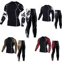 Wholesale Custom Leggings - New Logo Custom Compression Tracksuit Men Training Running Set Fitness Tight Long Sleeve Shirt Pants Leggings Gym Sport Suit