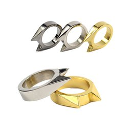 Wholesale Wolf Band Ring - Self-defense Stainless Steel Ring Outdoor Shocker Ring Women Survival Single Self-defense Window Breaker Anti Wolf Men Tool
