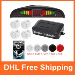 Wholesale Ultrasonic Detectors - Wholesale Car Auto LED Parking Sensor Ultrasonic Reverse Backup Sensors Radar Detector Kit with Backlight Display CAL_200