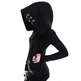 Wholesale Gothic Winter Jacket - Gothic Punk Women Hoodies With Rings Loose Big Hood Winter Autumn Black Long Sleeve Sweatshirt Zipper Jacket Coat Plus Size 5XL