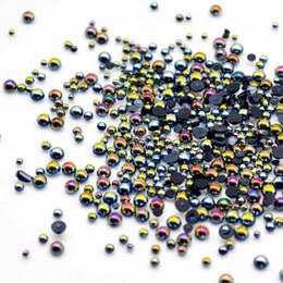 2019 pietra perla nera Nero AB 3D Gioielli per unghie Mix di perle per unghie Pietre per unghie Decorazione di gioielli per unghie Ongle All for Design Nailart MJZ0101 pietra perla nera economici