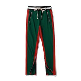 Wholesale Cotton Track Pants Men - Side Patchwork Elastic Waist Drawstring Men's Track Pants 2018 Streetwear Terry Material Cotton Pants Trousers Men 9 Colors