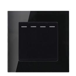 Colore nero Interruttore a parete per pannello a 4 vie / 2 vie in vetro e interruttore 220-250V da
