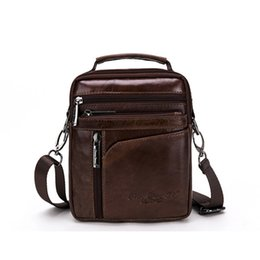 Wholesale Bussiness Casual - Brand Genuine Cow Leather Small Casual&Bussiness Bag Men's Handbag Crossbody Shoulder Bags Messenger Bag Zipper Pack For Travel