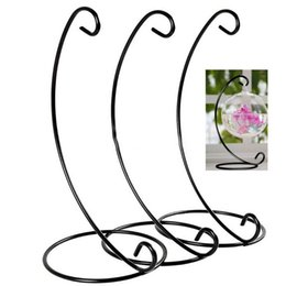 Wholesale Glass Balls Decorations - H23cm Ornament Display Stand Iron Hanging Rack Holder For Hanging Glass Globe Air Plant Terrarium Witch Ball Wedding Home Decor XL-599