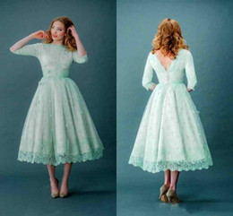 Wholesale Laced Backless Teal Gowns - 2018 Elegant Cheap Mint Green Wedding Dresses Lace Teal Length With Half Long Sleeves V Backless Plus Size Modest Garden Bridal Party Gowns