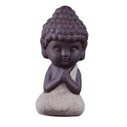Wholesale Wholesale Ceramic Figurines - 1Pcs Small Buddha Statue Monk Figurine India Mandala Tea Ceramic Crafts Home Decorative Ornaments Miniatures