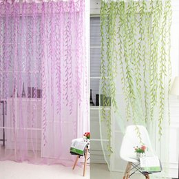 Wholesale Embroidered Sheer Curtains - 1x2M Home Textile Tree Willow Curtains Blinds Voile Tulle Room Curtain Sheer Panel Drapes for bedroom living room kitchen