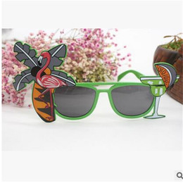 Wholesale Tropical Beach Dresses - Summer Flamingo Sunglasses Hawaiian Tropical Cocktail Hula Beach Ball Beer Party Luxury Brand Designer Glasses Dress Goggles Decor 3 6qt YY