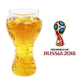 Wholesale Home Bottled Water - Russia 2018 World Cup Wine Glass 400ML Water Bottle Beer Steins Home Bar Liquid Glasses Cup OOA4826