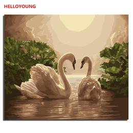 2019 pinturas a óleo de cisnes Swan Lake Digital imagem Pintura desenho DIY Pintura pintado à mão óleo por números Novas pinturas a óleo amor rolar pinturas pinturas a óleo de cisnes barato