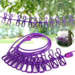Wholesale folding clothes hanger rack - Clothesline with Clips Hotselling Portable Multi-functional Drying Rack Clips Cloth Hangers Steel Clothes Line Pegs Travel Clothespins m034